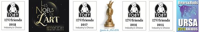 Anne Marie Verron award winning teddy bear artist - TOBY URSA FTA Gueules de Miel trophee prize