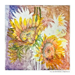 """Displaced Sunflowers,Watercolor monotype 24"""" x 24"""""""