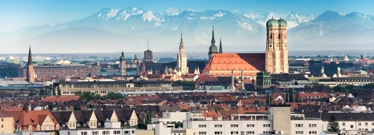 Beautiful Munich Skyline with mountains in the background
