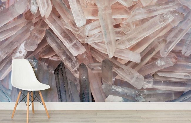 The benefits of coloured crystals in your home colour sense - Rose quartz wallpaper ...