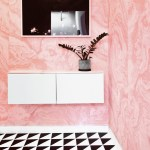 Pink Bathroom With Black And White Tile And Marble Wallpaper Via Citysage Anne Sage