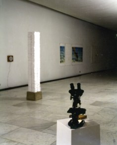 Installation view, microscope to study living cell.