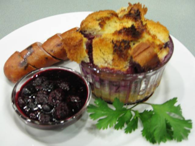 Berry Creamy French Toast served with Fruit Compote and Turkey Sausage
