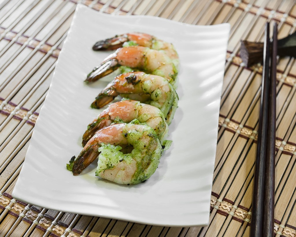 Beautiful shrimp appetizer dish.