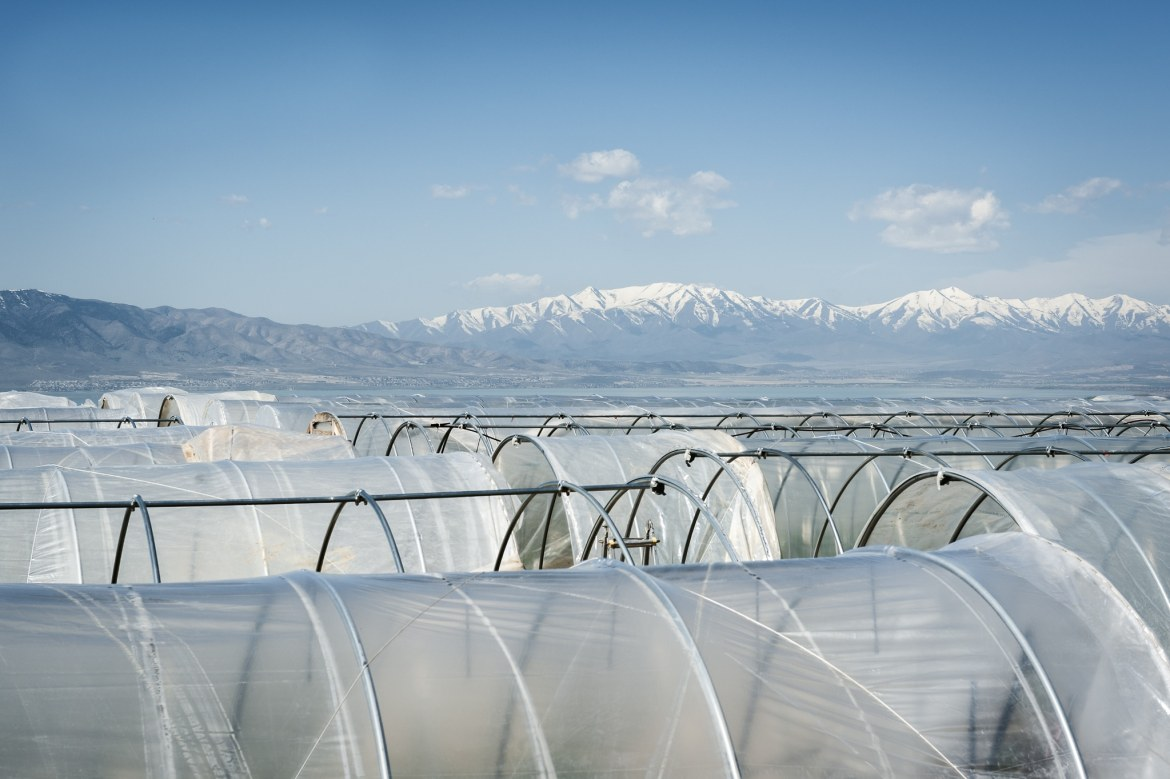 "La Nay Ferme's agricultural growing ""tunnels"" with view of Utah County."