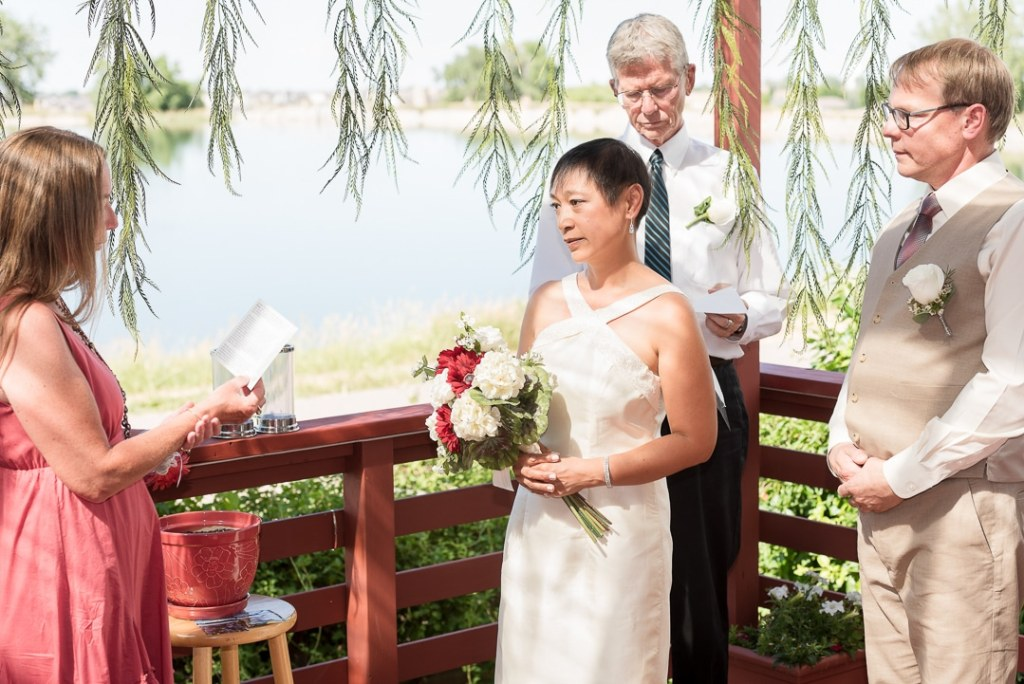 A best friend reads a treasured poem at a wedding to the bridal couple.