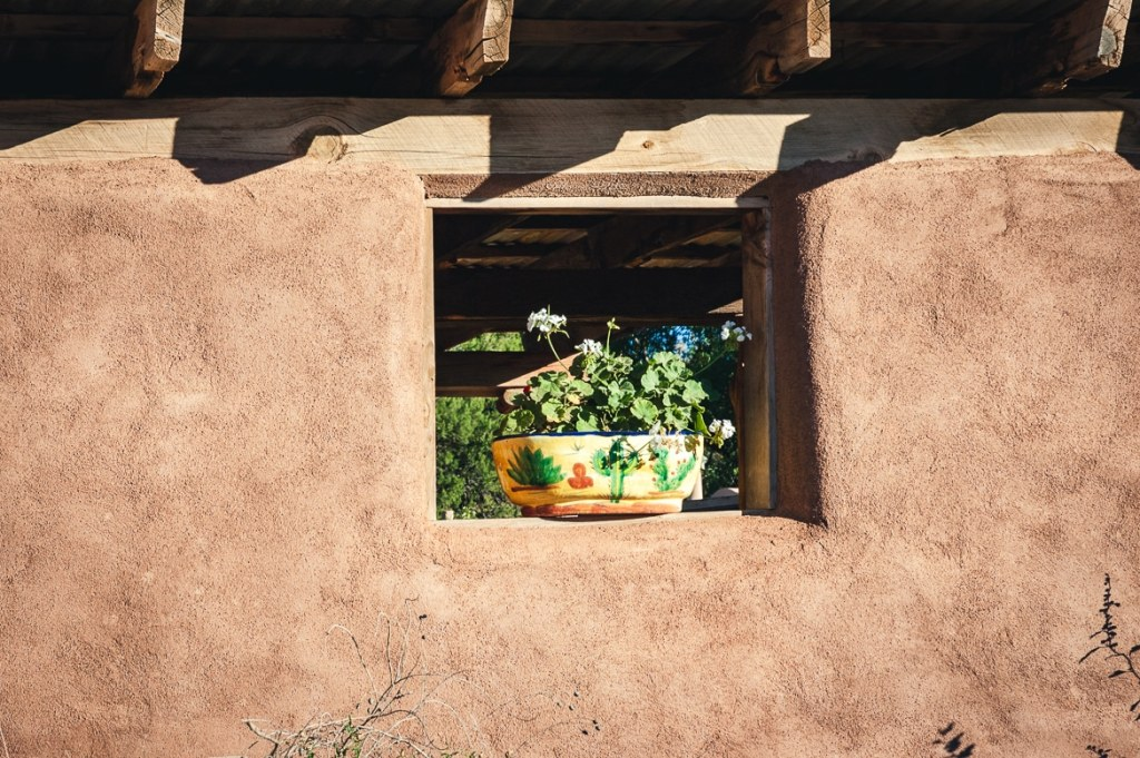 A potted plant sits in the open window of an adobe house.