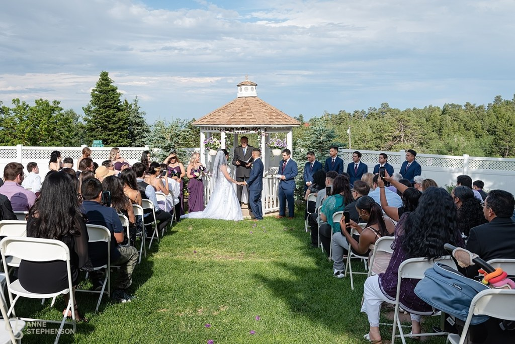 The backyard gazebo creates a beautiful spot for an outdoor wedding at the Crystal Rose.