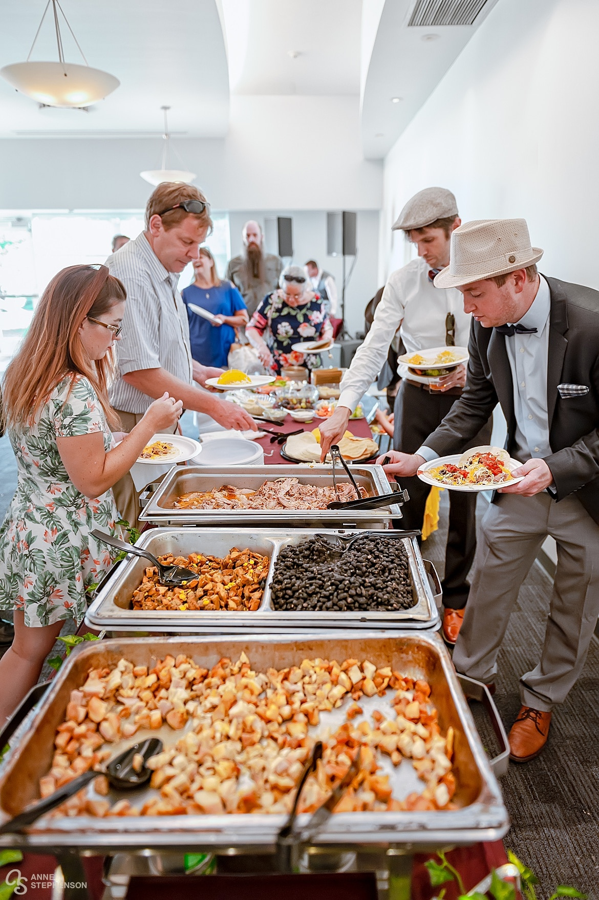 Guests partake of the taco bar provided by Clark's Custom Catering.