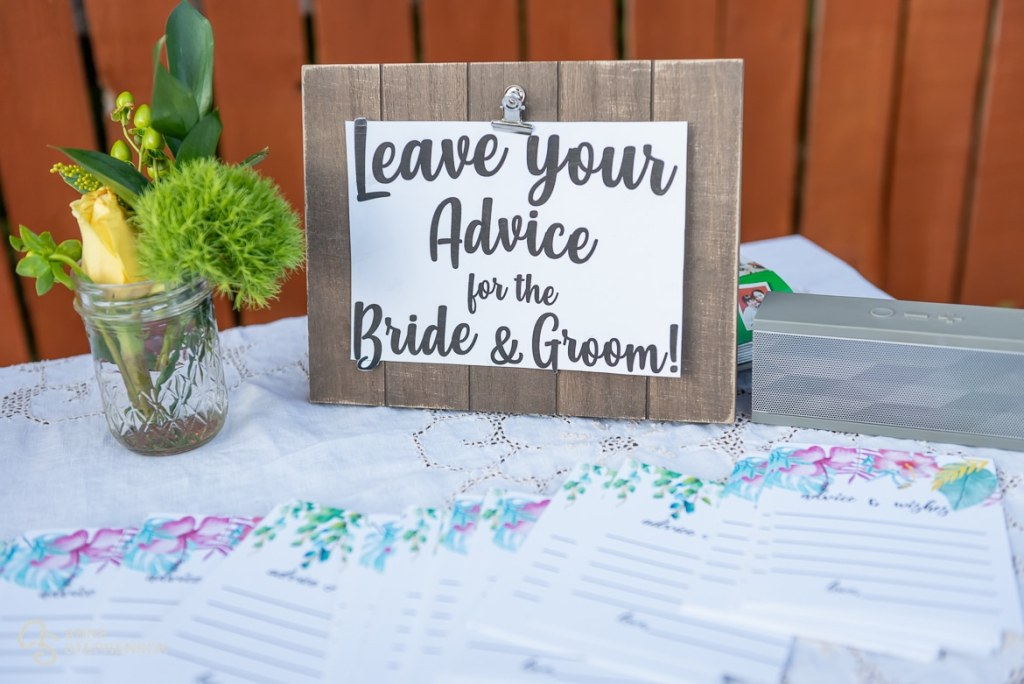 Guests are encouraged to leave advice on beautiful sheets of paper with a floral border.