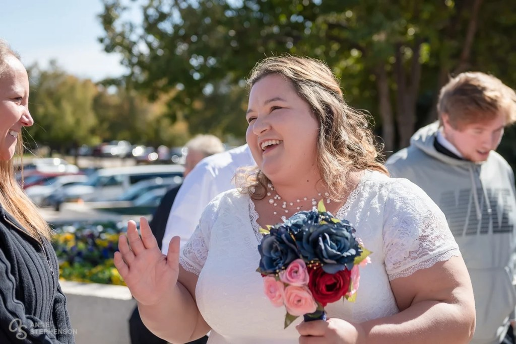 The happy bride after her Denver Temple wedding.