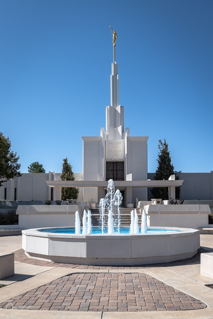 The beautiful white stones of the Denver Temple make it a beautiful site for a wedding.