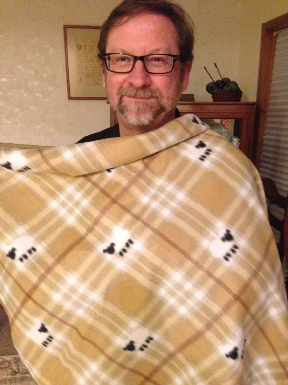 Bill found this blankie on a sale rack. Only 10 quid!  What a deal!