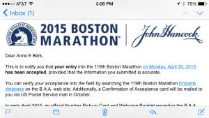 Boston marathon acceptance