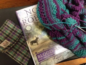 It turns out that the book I am currently reading, my cell phone case, and my knitting project all match.  It has to be coincidental ( I didn't even pick the colors for this project, Tina Newton did it for me).  Right?