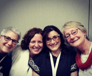 "Four of Craftsy's knitting instructors happen to be named ""Anne"" or ""Ann""!  Here we are together - from left to right, Anne Hanson, Anne Weil, Anne Berk, Ann Budd"