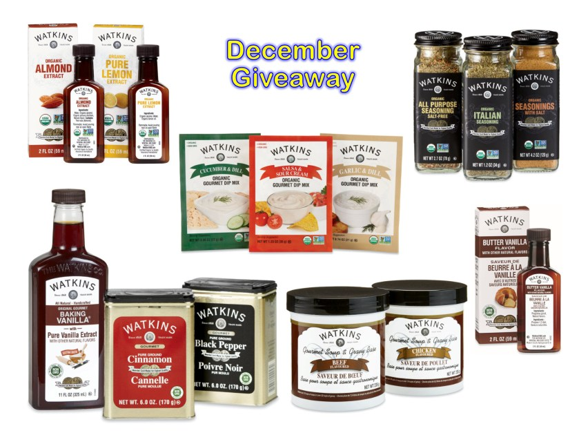 Enter to win Free Watkins Products! No purchase necessary to enter or to win (new drawing every month). Here's what will be awarded in the December drawing