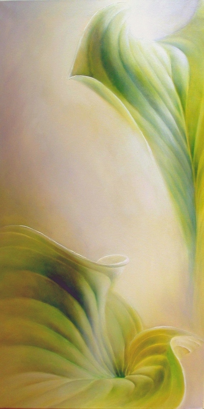 painting of two leaves