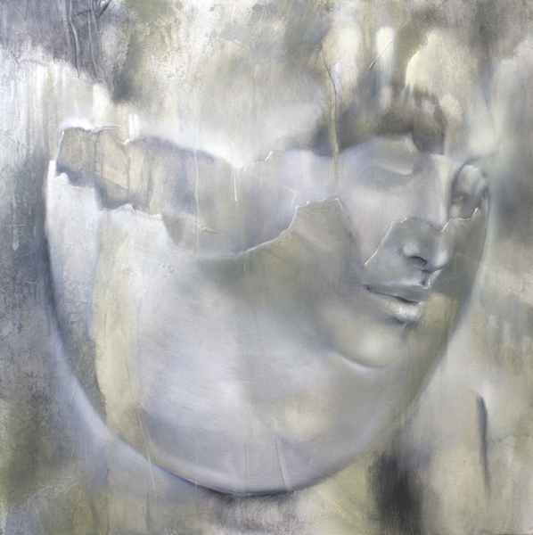 painting of a female face and a eggshell