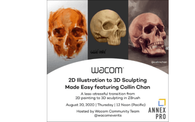 Wacom Webinar: 2D Illustration to 3D Sculpting Made Easy featuring Collin Chan