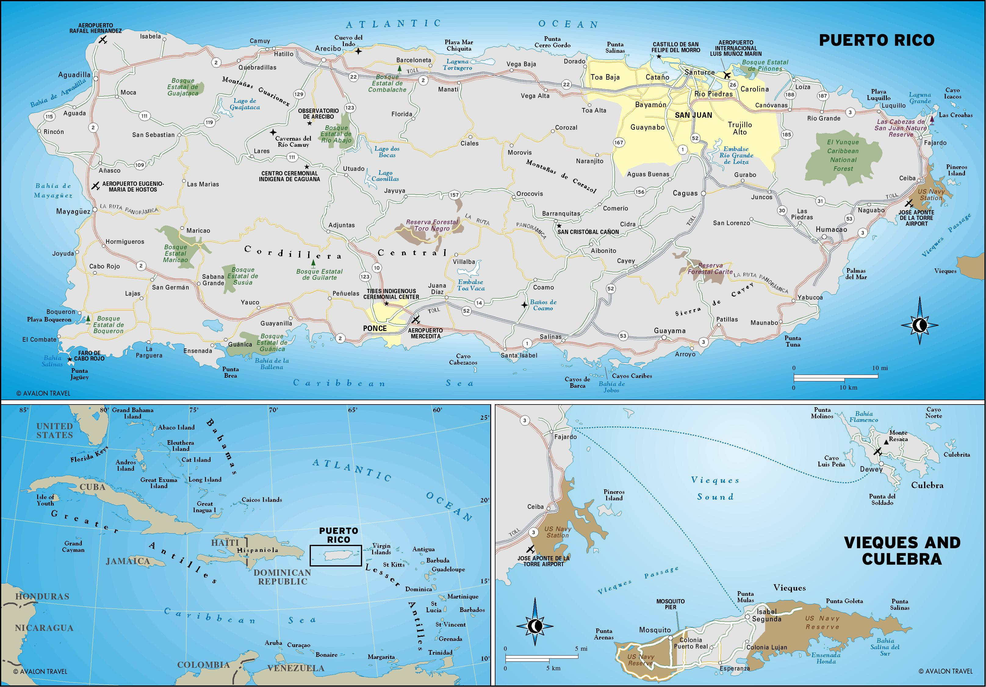 Puerto Rico Map Geographic