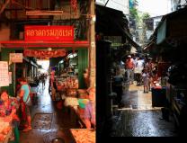 ヤワラート通り沿いの路地。魚、肉から飲茶、乾物なんでも揃う(左)。スコールの後、太陽光が差し込んでいた。