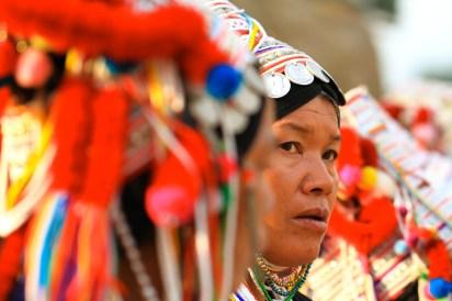 チェンマイへの道中にて。途中、山岳民族の女性たちを見かける。