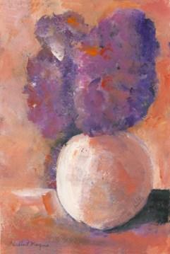 Purple Flowers, Orange Vase