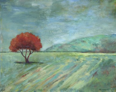 Ann Hart Marquis- a painting of a lone tree that is a metaphor for individuality