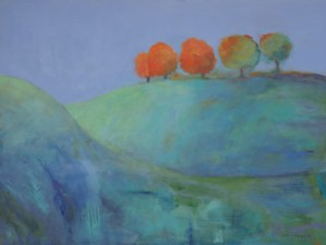 About Ann Hart Marquis image of abstract landscape paintings on board