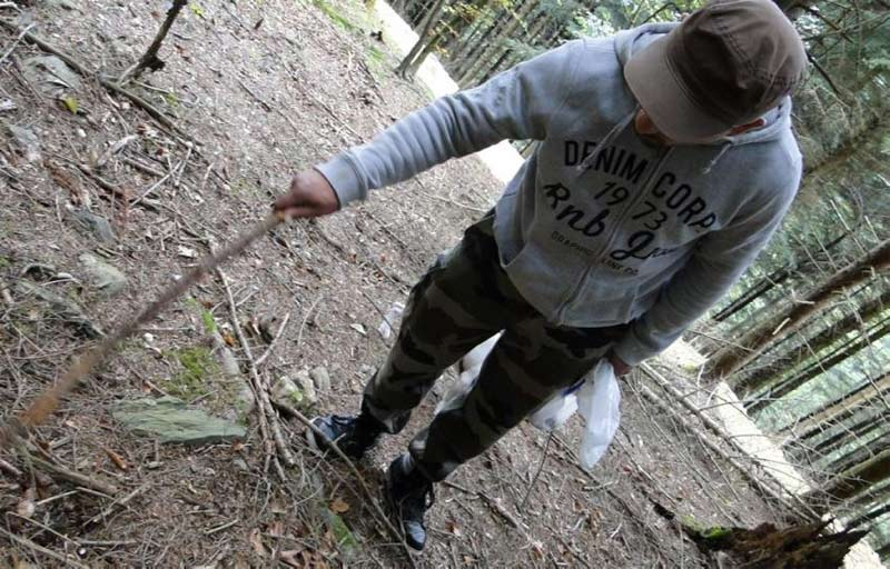 a walking staff or stick is useful when mushroom foraging