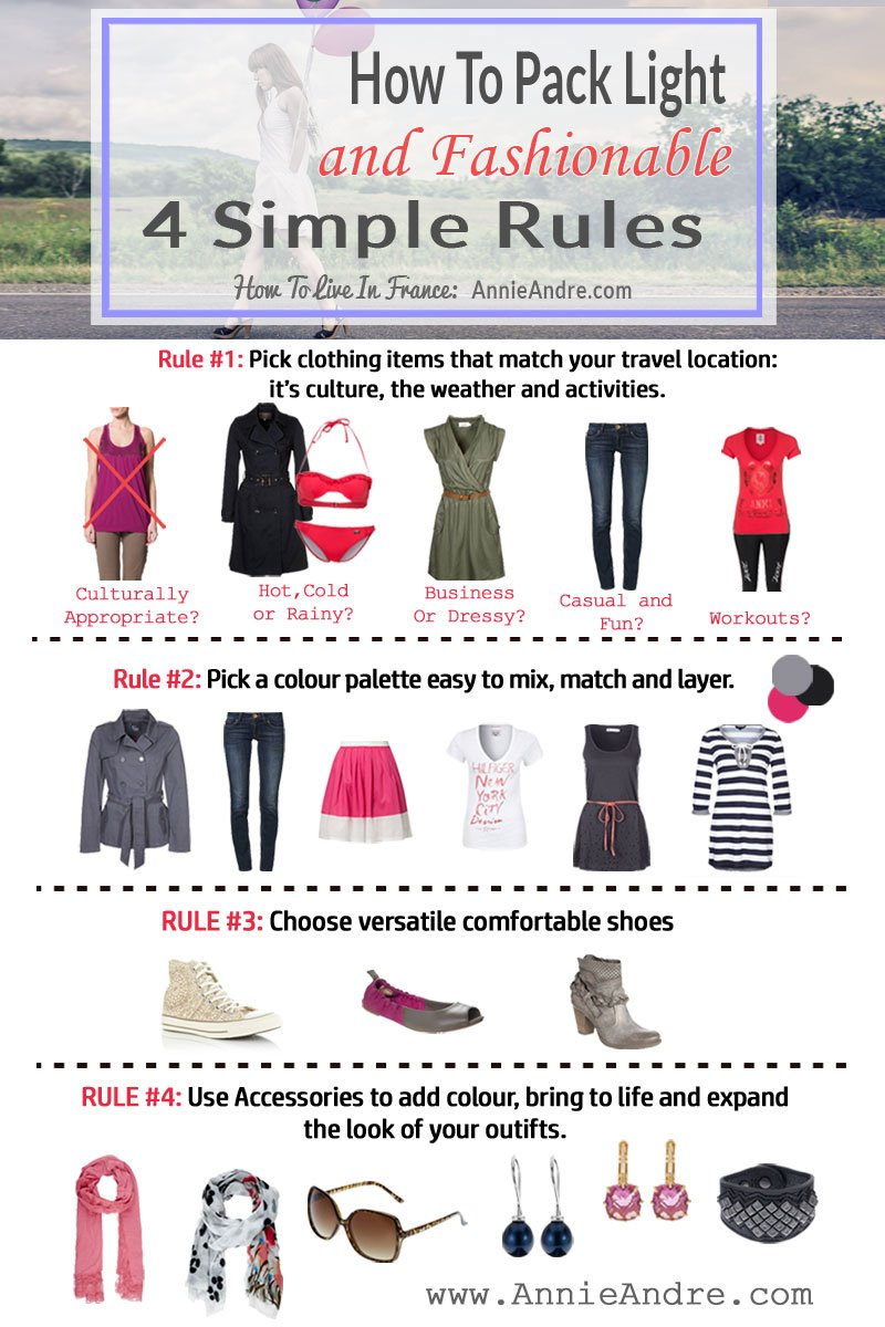 infographic: 4 Rules to help you pack light and fashionable