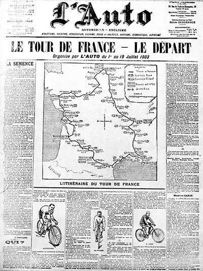 1903 Newspaper announcing first tour de France