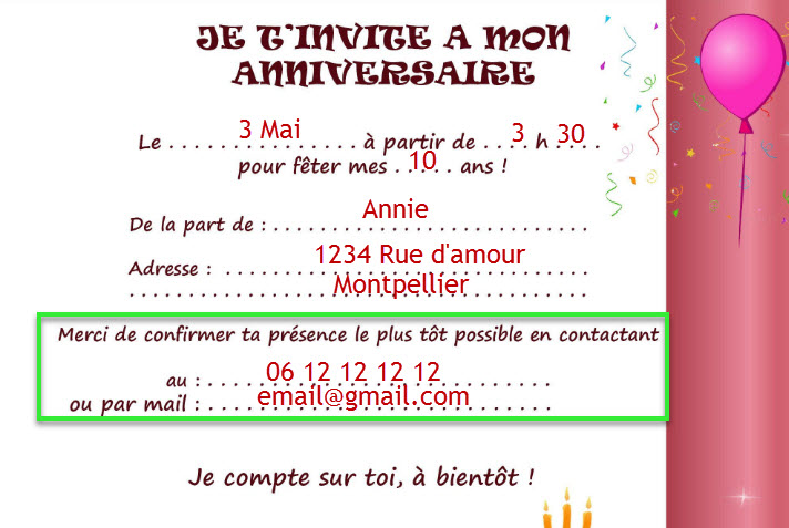 An example of how to ask for an RSVP in French on a French invitation