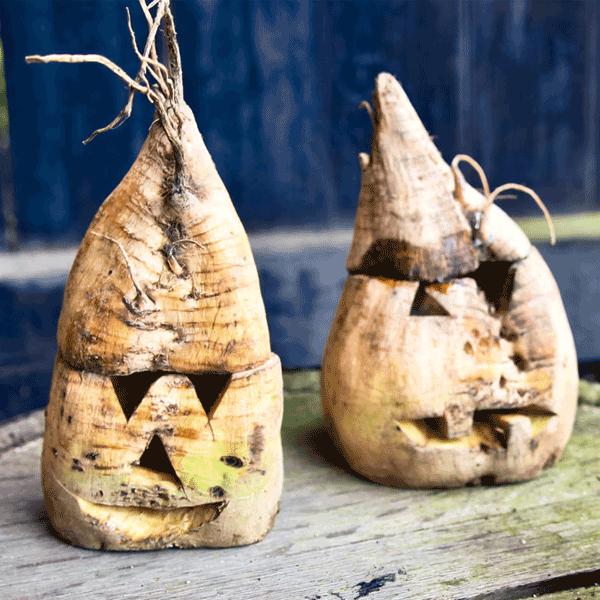 ugly-carved-turnip jack o'lanterns