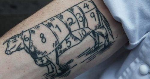 Classic beef cut tattoo idea like the great French chefs