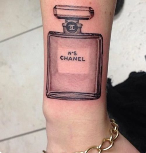 French inspired Coco Chanel no 5 perfume tattoo