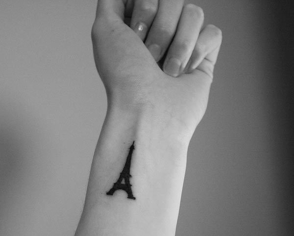 Eiffel tower wrist tattoo