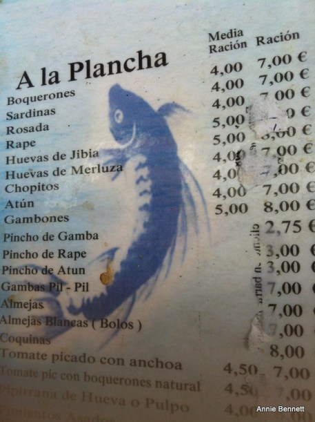 Menu at Atarazanas market bar Malaga