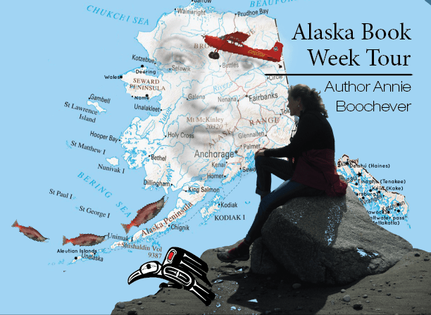 Annie Boochever sitting on a rock looking out at the state of Alaska. Icons from her two published novels are integrated into the picture.