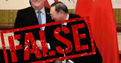False image showing Yang Jiechi bowing to Mike Pompeo