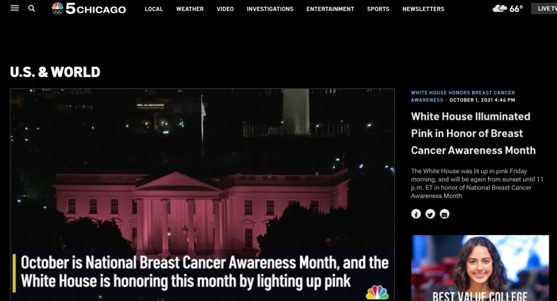 A screenshot of the NBC Chicago video about the White House being lit up in pick this year.