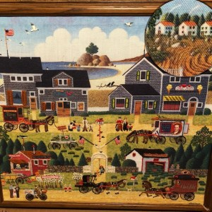 Grandma's Stitchery Picture_Houses on hill