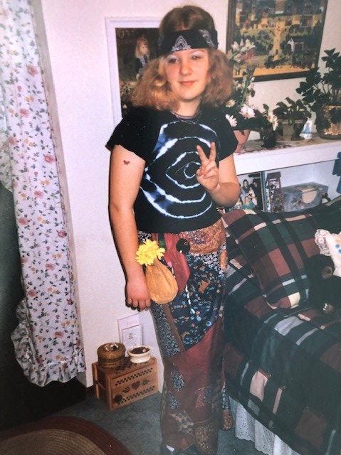 Me dressed as a hippie in 1995