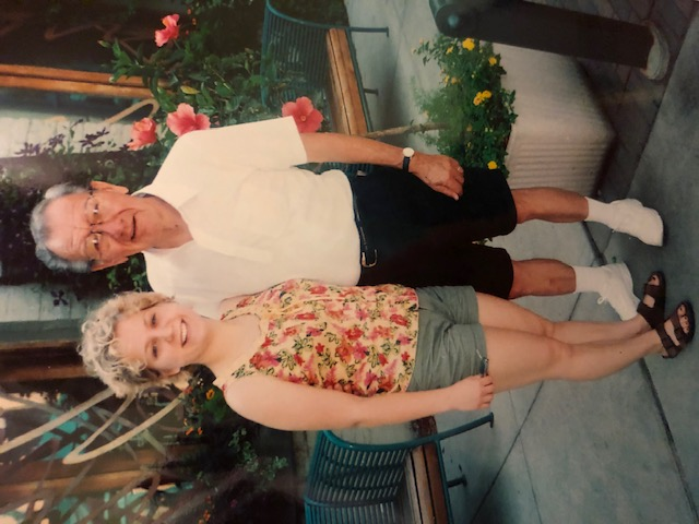 Grandpa and I out to lunch in the Twin Cities in 2002
