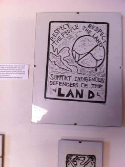 """""""Respect the people, respect the land"""" – made for land-defenders who were protesting the Northern Gateway proposed pipeline project specifically and more generally for all Indigenous land-defenders. http://pipeupagainstenbridge.ca/"""