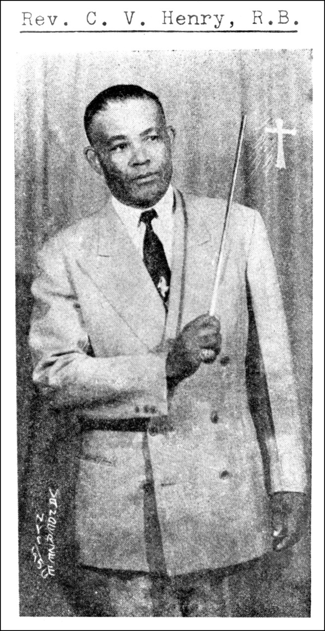 Rev. Claudius V. Henry holding his rod of correction, Harlem, New York, ca. 1957