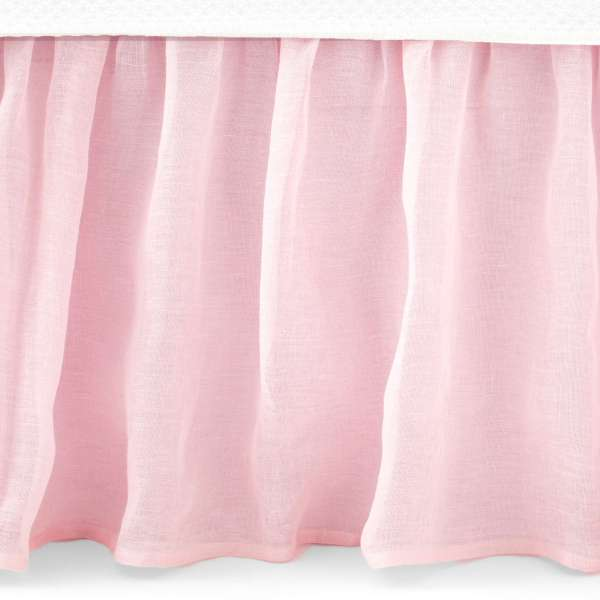 Pink Bed Skirts   King  Queen  Full   Twin   Pine Cone Hill Savannah Linen Gauze Blush Bed Skirt
