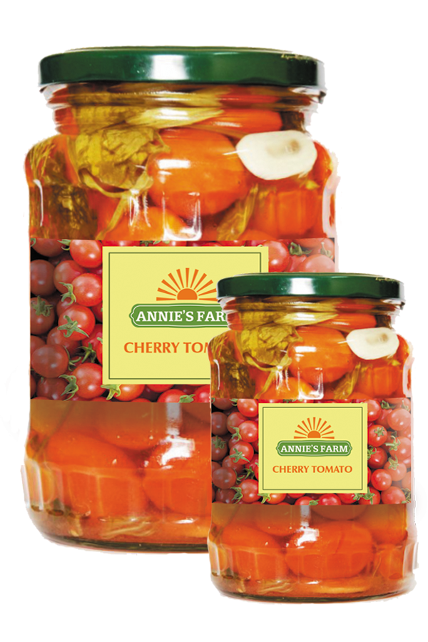 Pickled Cherry Tomatoes in glass jar