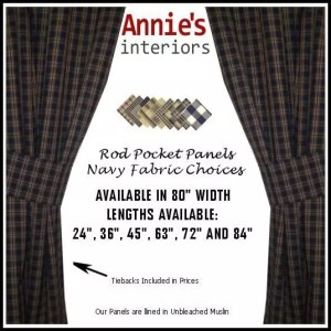 ROD POCKET PANEL CURTAINS NAVY COUNTRY FABRICS